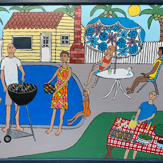 """Backyard Pool BBQ"" by Katherine Michael"