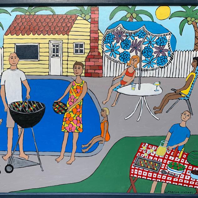 """Backyard Pool BBQ"" by Katherine Michael"