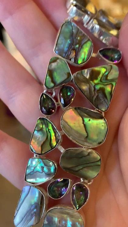 Abalone Shell and Mystic Topaz Bracelet-Megan Austin