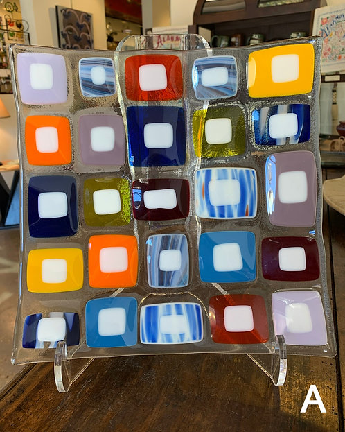 Retro Square Glass Plates- Joni Esser-Stuart