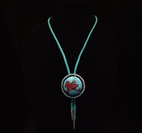 Red Frog Cabochon Bola Tie - Jean Upton