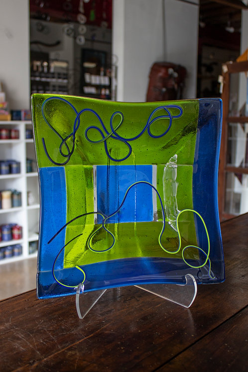 Blue & Green Glass Plate-Mimi Boston