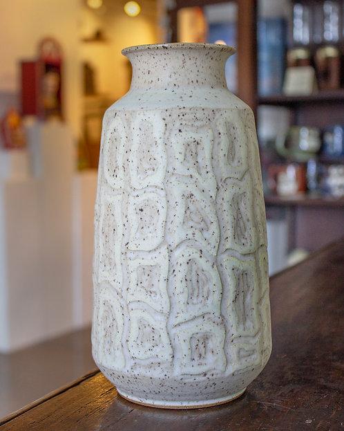 White Sgraffito Vase-Timothy Weber