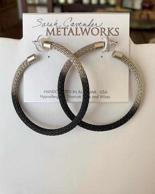 Silver and Black Mesh Hoop Earrings-Sarah Cavender