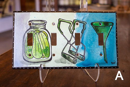 Hand-painted Quadruple Switch Plates-Veronique Vanblaere
