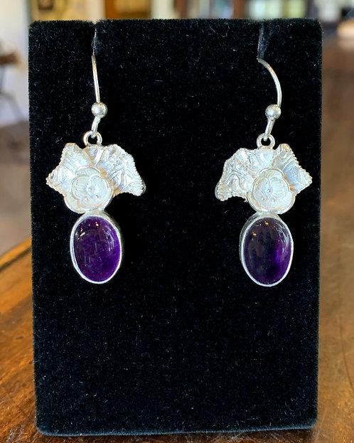 Amethyst & Silver Ginkgo Leaf Earrings - Megan Austin