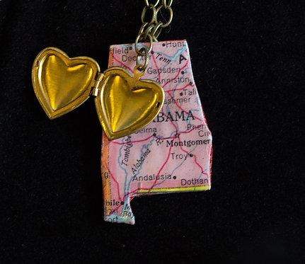 Alabama Necklace with Heart Locket