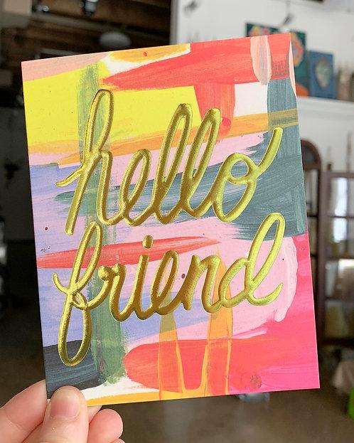 Hello Friend Greeting Card-Thimblepress