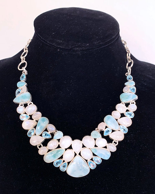 Larimar, Moonstone, and Topaz Necklace-Megan Austin