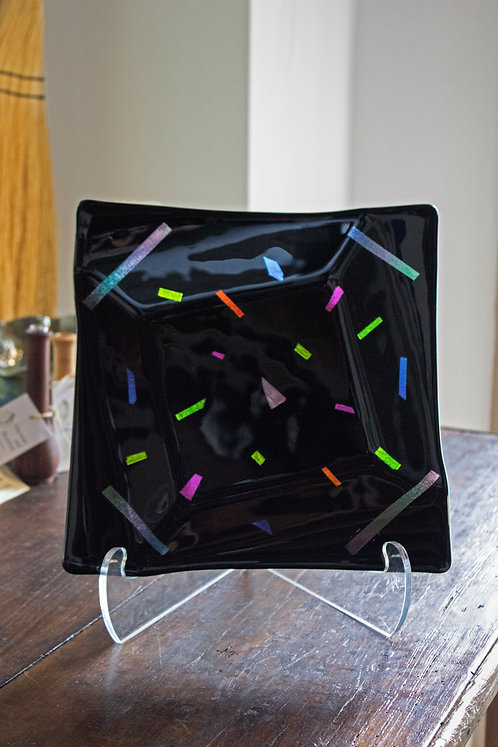 Black Dichroic Glass Dish - Joni Esser-Stuart