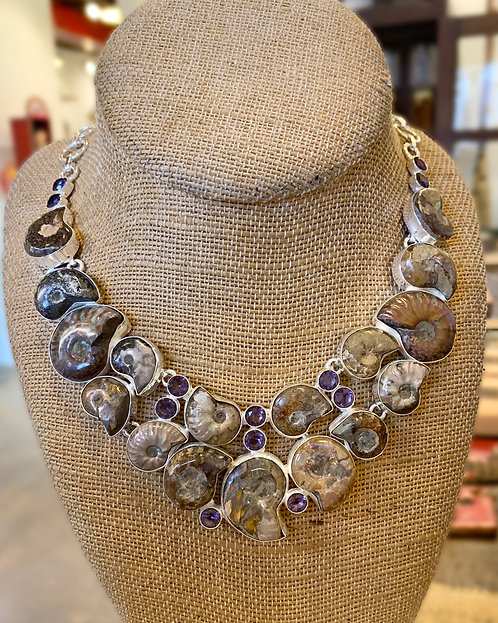 Ammonite Fossil and Amethyst Necklace-Megan Austin