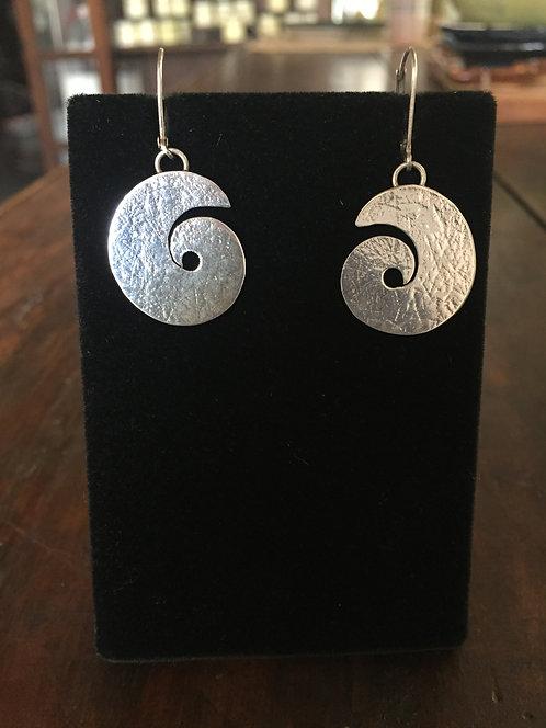 Sterling Silver Swirl Earrings-Betsy Meyers Green