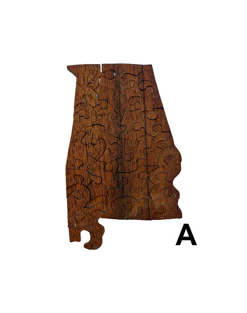 Small Alabama Wood Puzzles-Chestnut & Hemlock