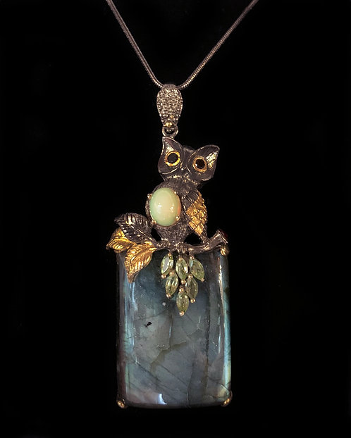 Labradorite Owl Necklace-Megan Austin