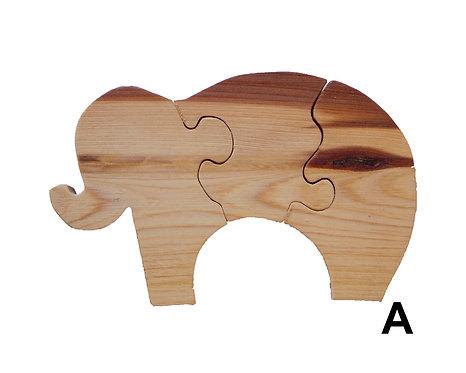 3 Piece Elephant Puzzle-Chestnut & Hemlock