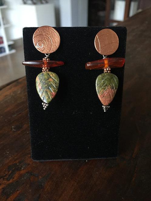 Copper, Amber, & Anskite Earrings-Betsy Meyers Green