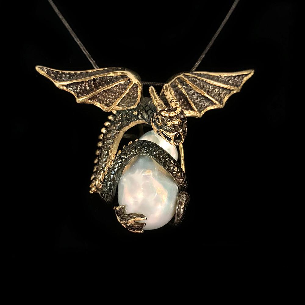 Pearl Dragon Pendant by Megan Austin