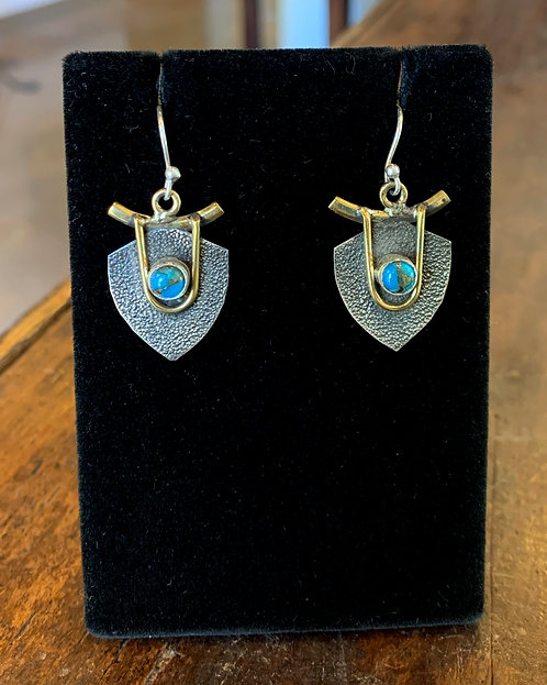 Turquoise, Copper, and Silver Earrings - Megan Austin