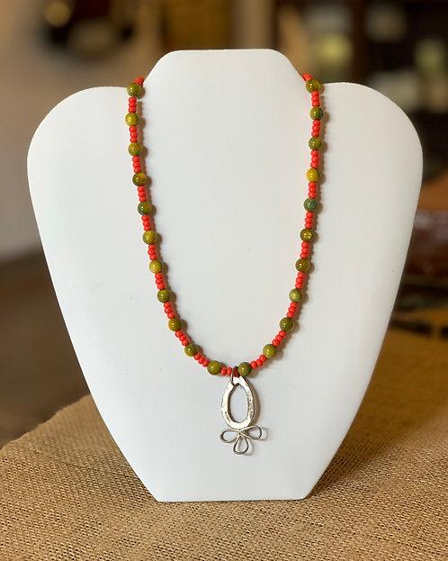 Orange & Green Necklace-Cecily Chaney