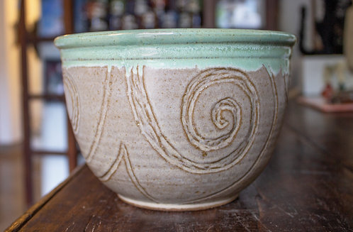 Green and Tan Serving Bowl - Marysia Galbraith