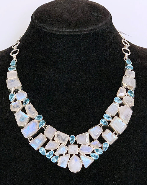 Faceted Moonstone and Topaz Necklace-Megan Austin