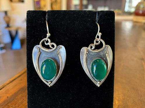 Green Onyx Silver Earrings - Megan Austin