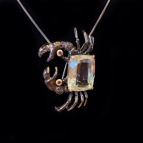 Green Amethyst Crab Broach & Necklace-Megan Austin