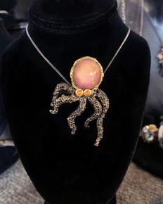 Star Ruby Octopus Broach & Nec