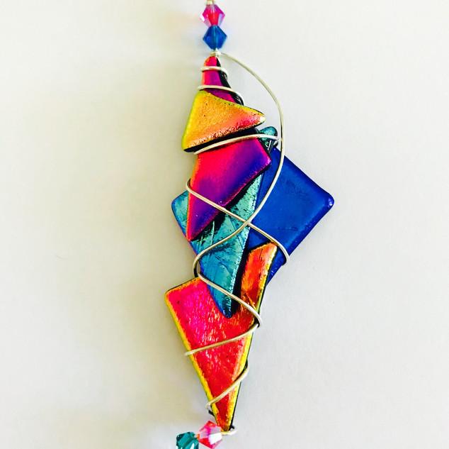 """Alabama Sunset Dichroic Glass Pendant"" by Cathy Jo Wheeler"