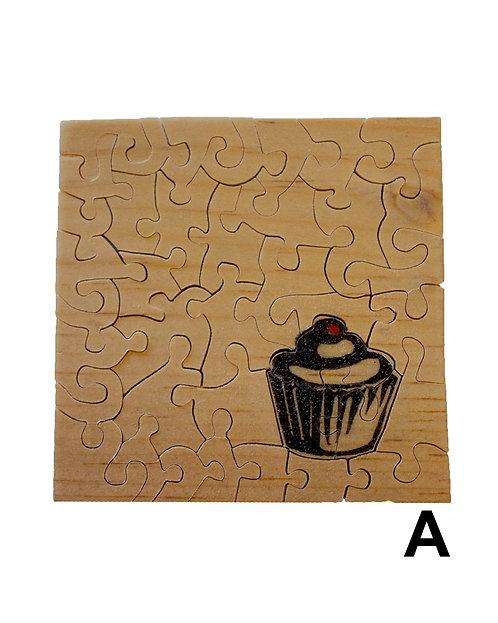 Linocut Cupcake Wood Puzzles-Chestnut & Hemlock