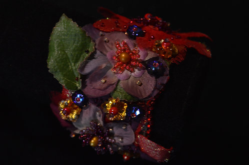 Red and Purple Flower Embroidered Cloth Bracelet - Jean Upton