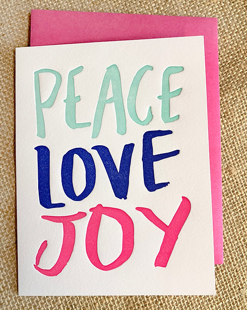 Peace, Love, Joy Greeting Card-Thimblepress