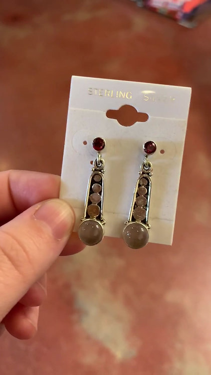 Garnet and Rose Quartz Earrings - Megan Austin