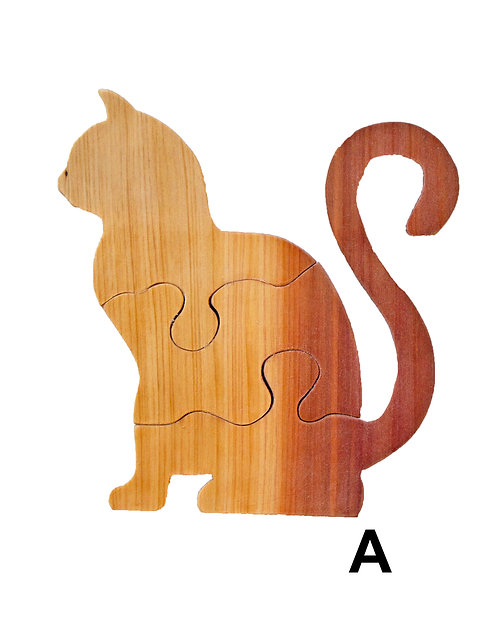 3 Piece Cat Puzzle-Chestnut & Hemlock