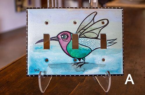 Hand-painted Triple Switch Plates-Veronique Vanblaere