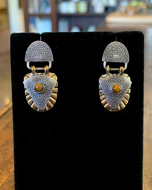 """Silver & Sealed Brass """"Tiger's Eye"""" Earrings - Megan Austin"""