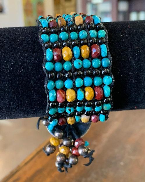 Turquoise and Jasper Macrame/Loomed Bracelet- Jean Upton