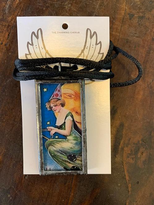 Vintage Witch Postcard Necklace No.2-Debra Farley