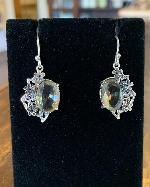 Silver Quartz Floral Earrings - Megan Austin