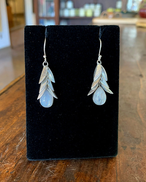 Moonstone Silver Leaf Earrings - Megan Austin