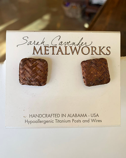 Square Woven Studs Earrings-Sarah Cavender