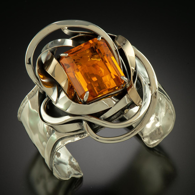 """Silver & Gold Sunburst Citrine Cuff Bracelet"" by Alex & Gail Marksz"