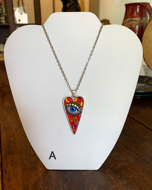 Large Heart Eye Necklaces-Betsy Youngquist