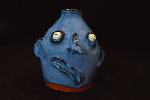 Large Blue Face Jug - Ned Berry