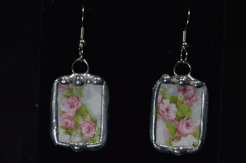 Rose China Earrings-Debra Farley