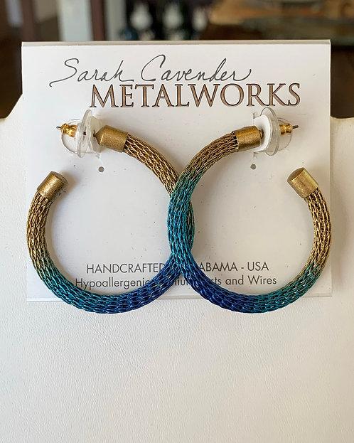 Bronze and Blue Mesh Hoop Earrings-Sarah Cavender