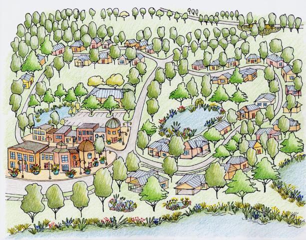 Community ButterflyScaping expands the concept of butterfly gardening through community-wide preservation and planting of butterfly host vegetation. (Illustration: Gail Hansen)