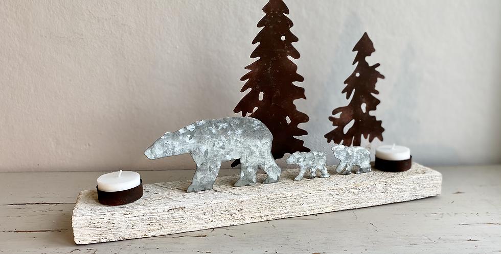 Vintage style tea light holder with polar bears