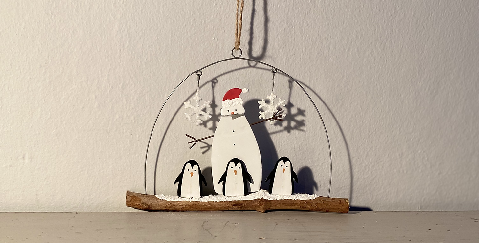 Penguins huddling round their snowman