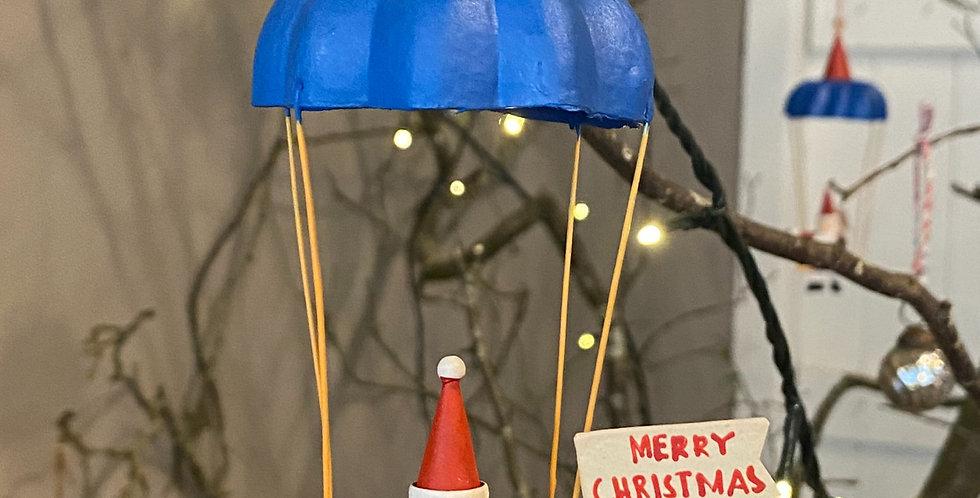 Father Christmas parachuting